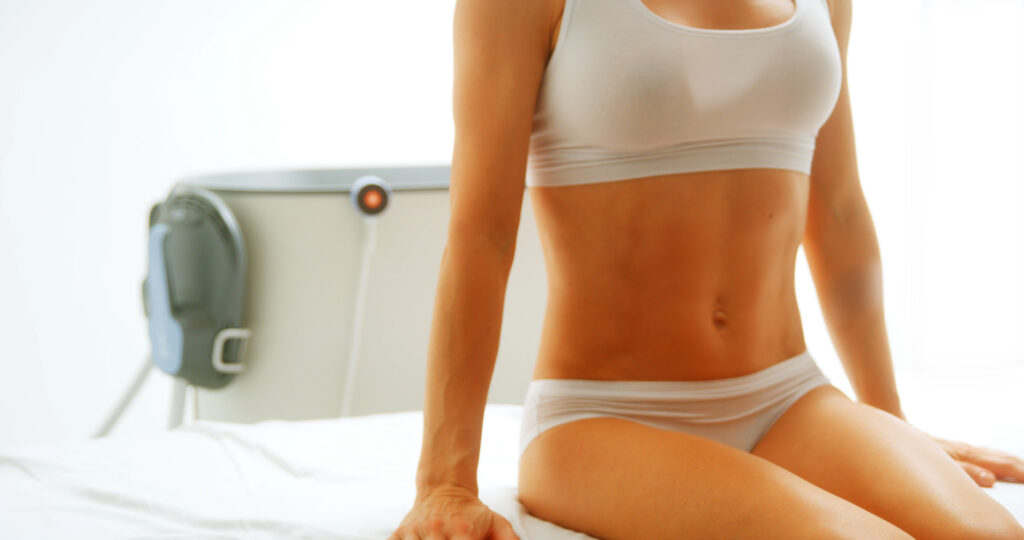 Emsculpt Neo Muscle Toner has no downtime and treatments are 30 minutes.